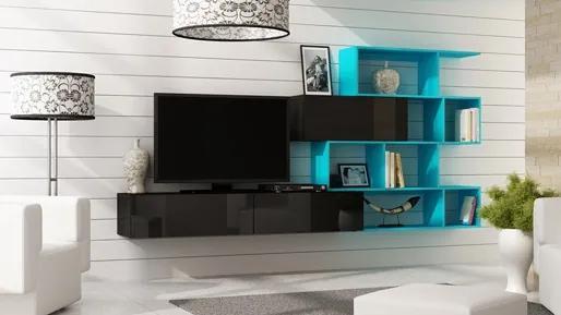 CAMA MEBLE Obývacia stena VIGO 16 Farba: čierna/biela
