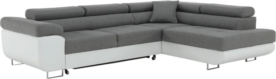 Rohová sedacia súprava, biela/sivá, pravá, AMARETO NEW