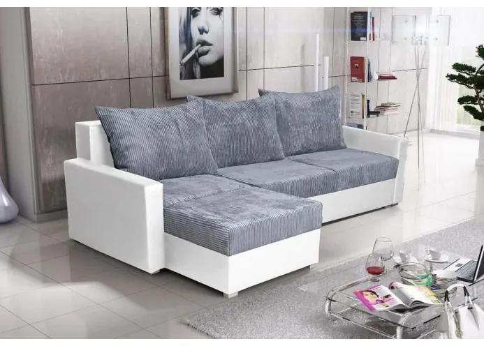 Rohová sedacia súprava KRISTER BIS, šedá + biela