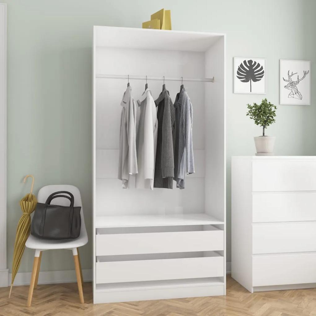 vidaXL Šatník lesklý biely 100x50x200 cm drevotrieska