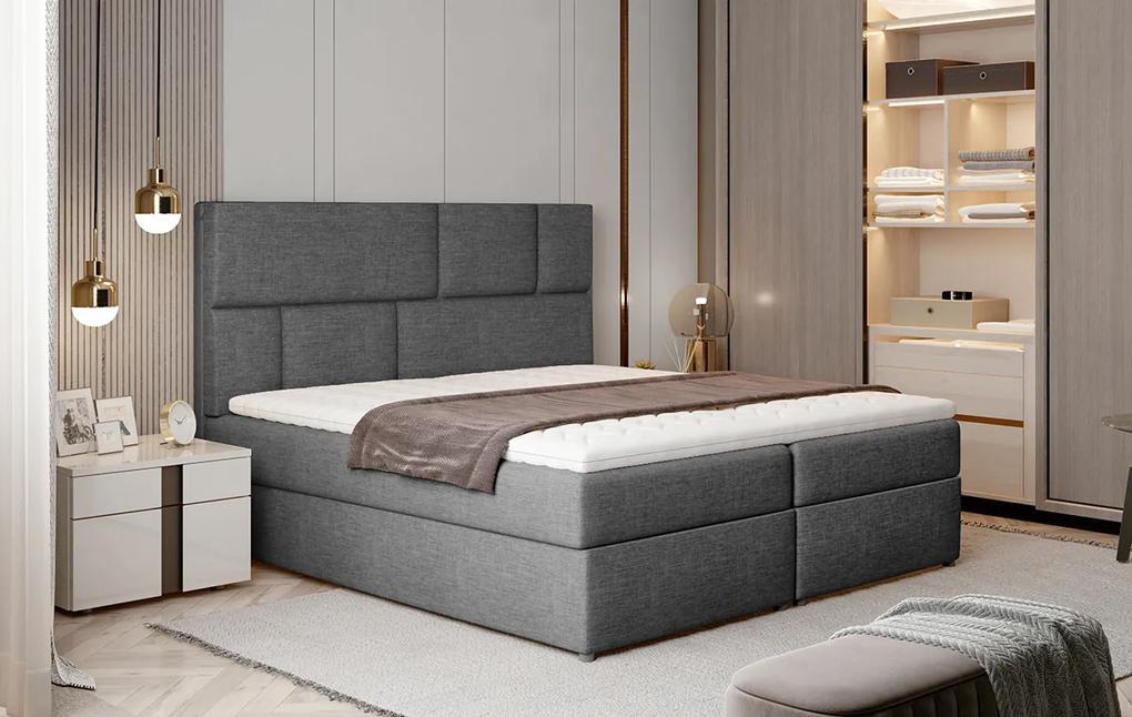 NABBI Ferine 145 čalúnená manželská posteľ s úložným priestorom sivá (Sawana 05)