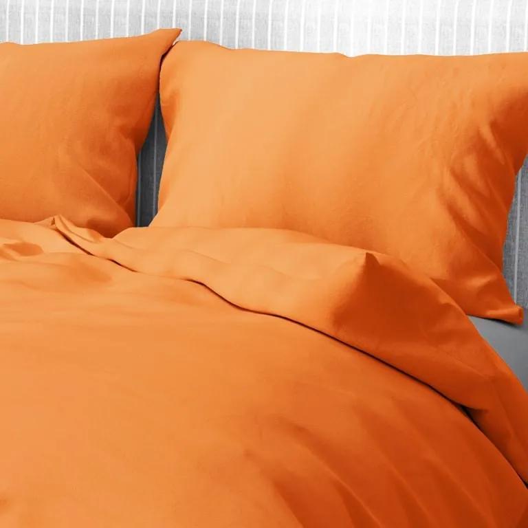 Goldea bavlnené posteľné obliečky - oranžové 140 x 220 a 70 x 90 cm