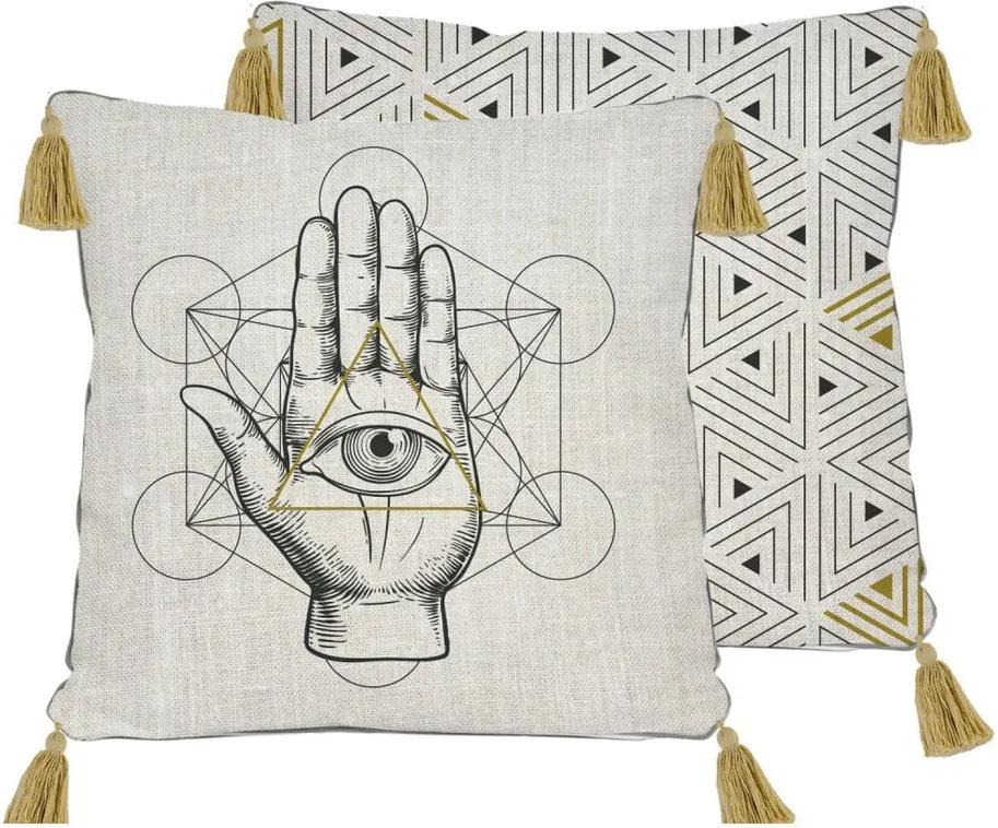 Obojstranná obliečka na vankúš s ľanovou prímesou Madre Selva Symbolic Hand, 45 × 45 cm