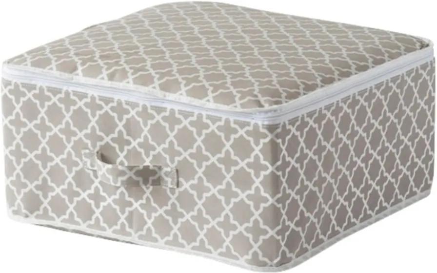 Béžový úložný box so zipsom Compactor, dĺžka 46 cm