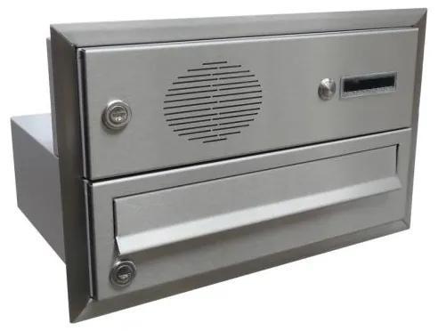 Nerezová poštová schránka DLS-B-017-U na zamurovanie do stĺpika so zvončekom a hovorovýmmodulom