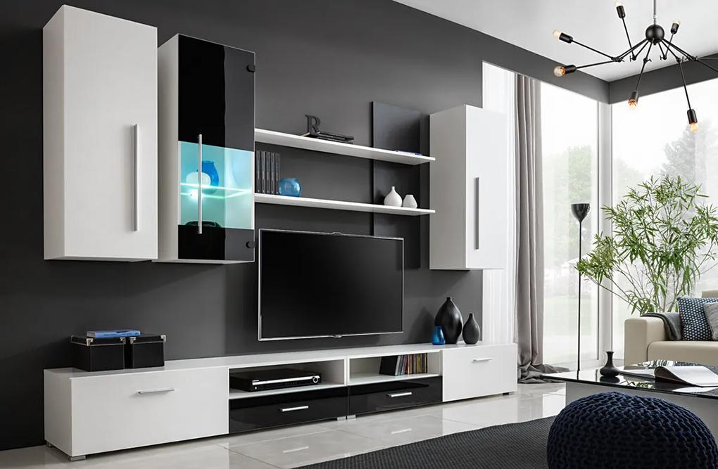 FURNIVAL Torino obývacia stena s osvetlením biela / čierny lesk