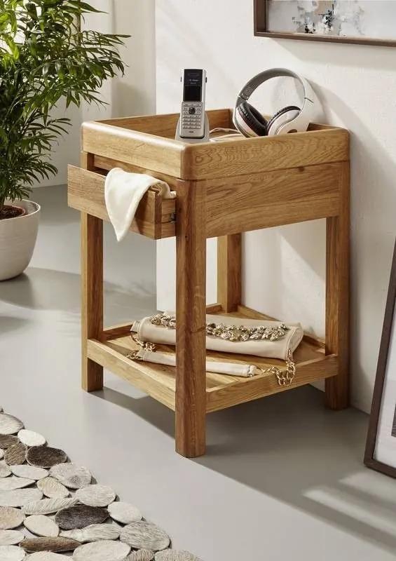 Bighome - VIENNA Príručný stolík 40x60 cm, dub