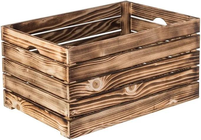 Drevobox Opálená drevená debnička 60 x 30 x 30 cm