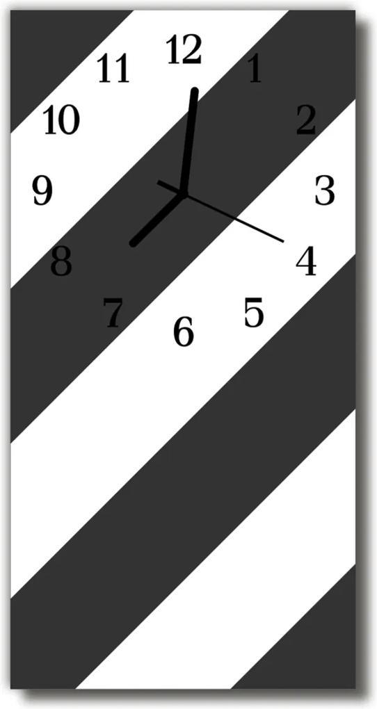 Sklenené hodiny vertikálne  Umenie Čierne biele pruhy