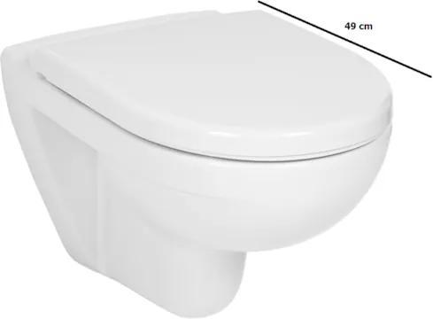 Závesné WC Jika Lyra plus, zadný odpad, 49cm H8233820000001