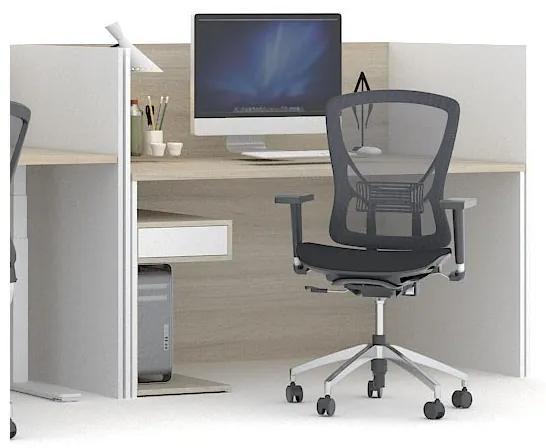Zostava pracovného stola FUTURE s paravány, biela/dub