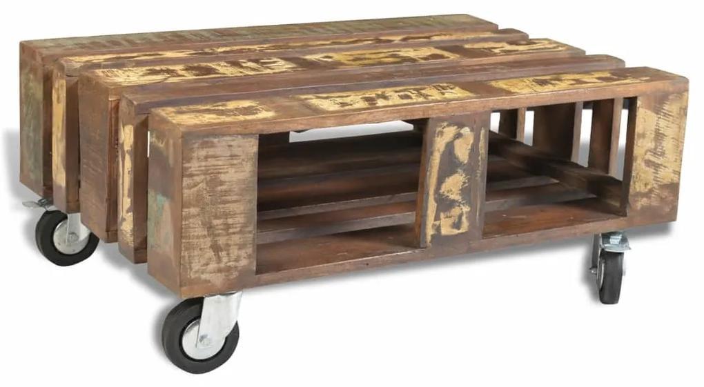 vidaXL Konferenčný stolík so 4 kolieskami, recyklované drevo