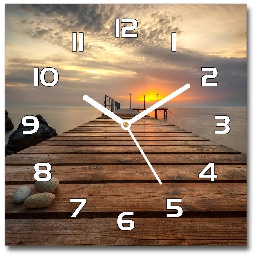 Sklenené hodiny štvorec Drevené mólo pl_zsk_30x30_f_131387481