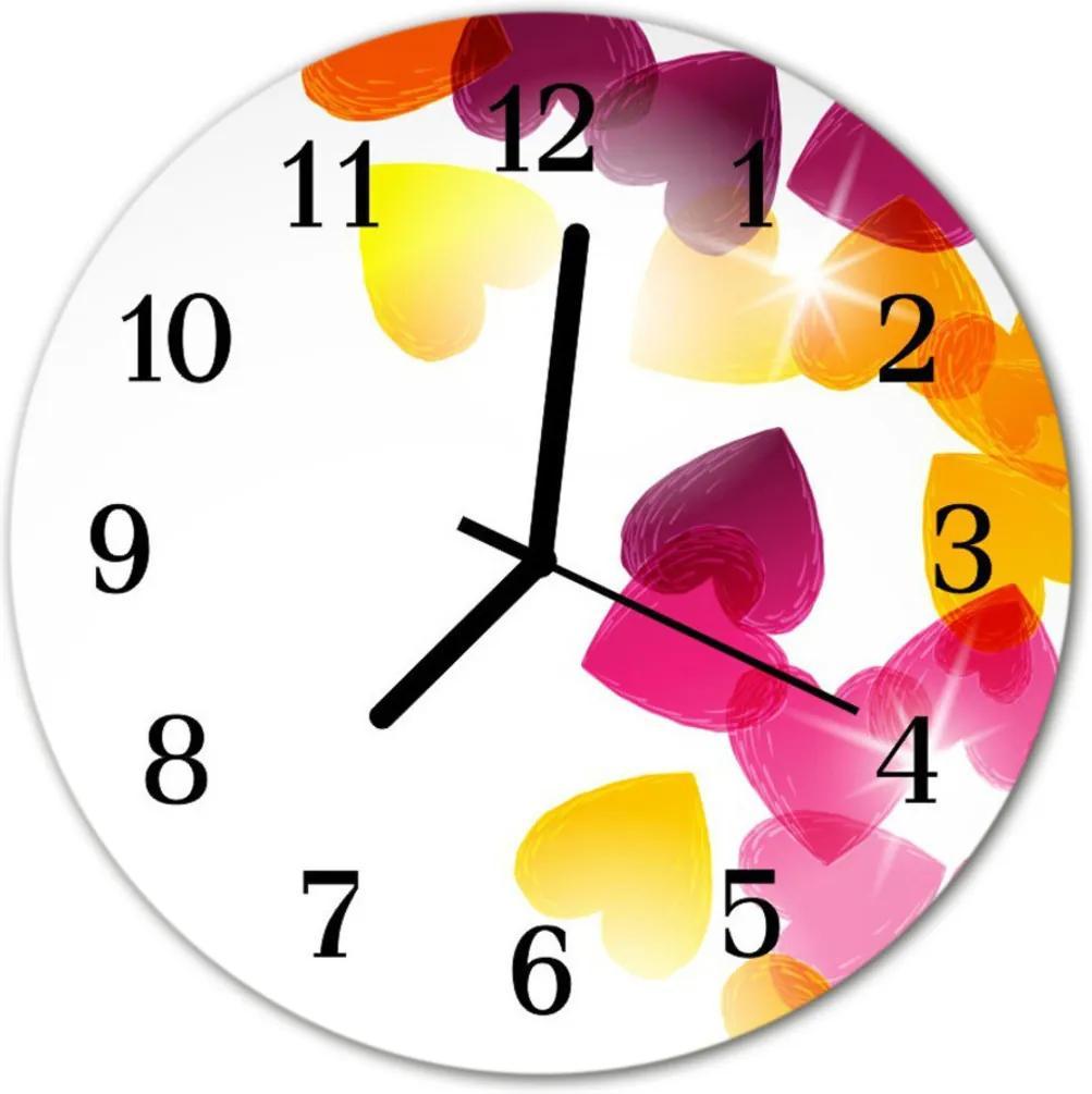 Skleněné hodiny kulaté Barevné srdce