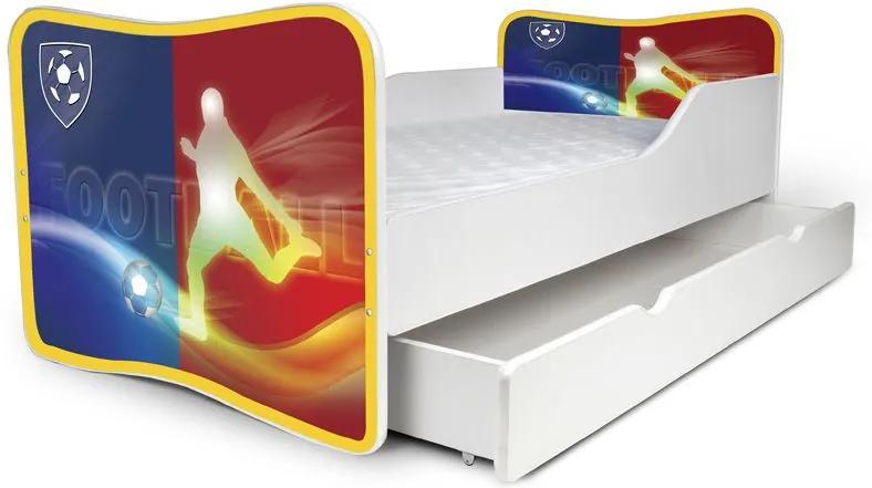 MAXMAX Detská posteľ so zásuvkou FOOTBALL + matrac ZADARMO 160x80 pre chlapca ÁNO