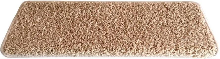 Vopi koberce Nášlapy na schody béžový Color shaggy obdélník - 24x65 obdélník (rozměr včetně ohybu)