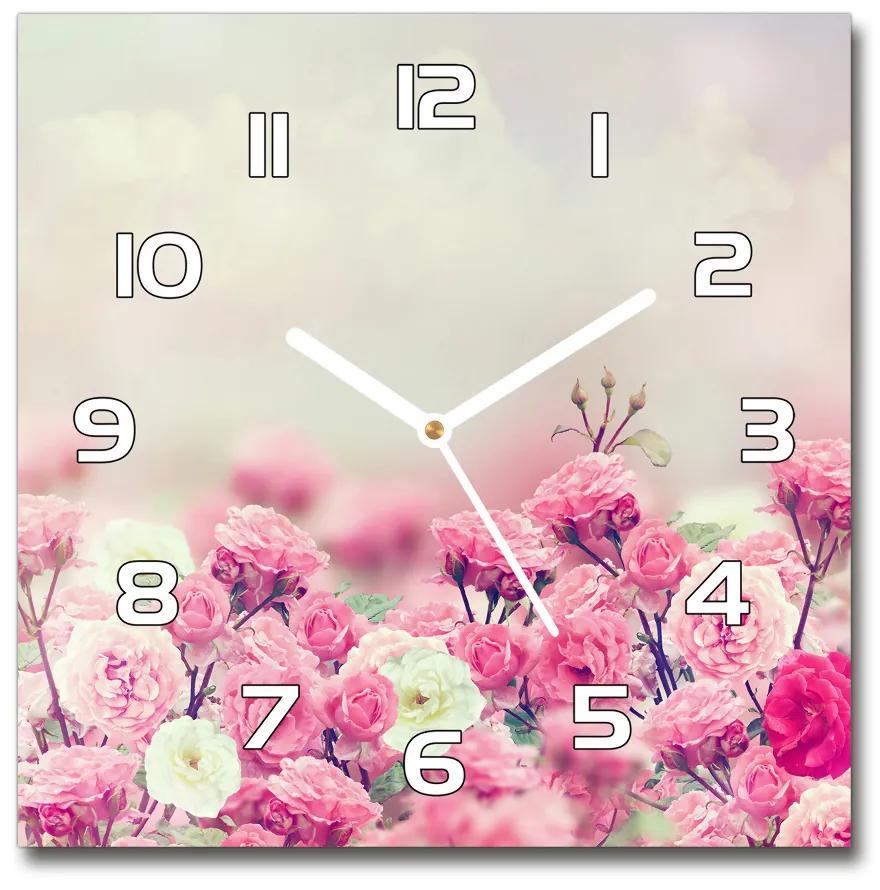 Sklenené hodiny štvorec Kvety divokej ruže pl_zsk_30x30_f_84071229