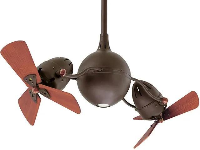 """MATTHEWS ACQUA AQ-5 2x16"""" bronz/drevo Duálny rotačný stropný ventilátor"""
