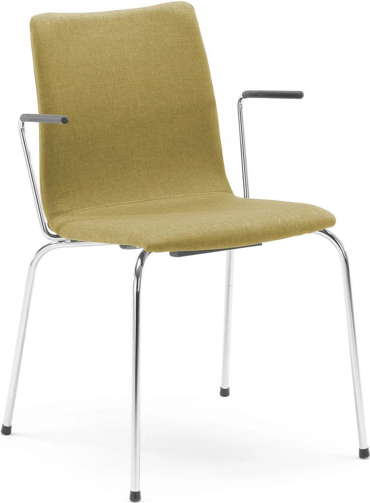 Konferenčná stolička Ottawa, opierky rúk, olivovo zelené čalúnenie
