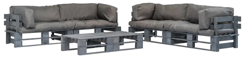 vidaXL 6-dielna záhradná paletová sedacia súprava so sivými vankúšmi sivé FSC drevo