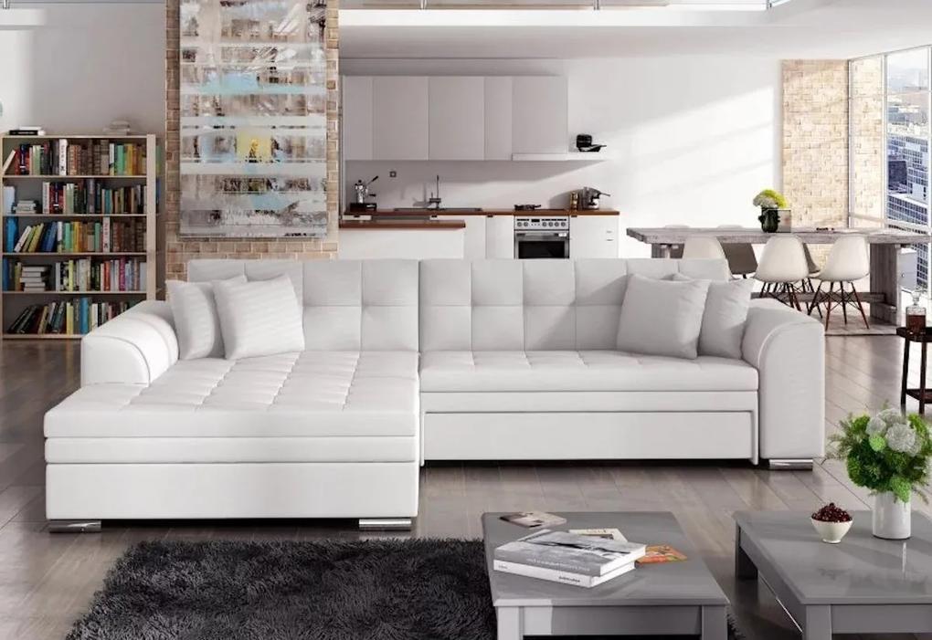 Rohová rozkladacia sedačka SORENTO, 294x80x196, soft017white, ľavá