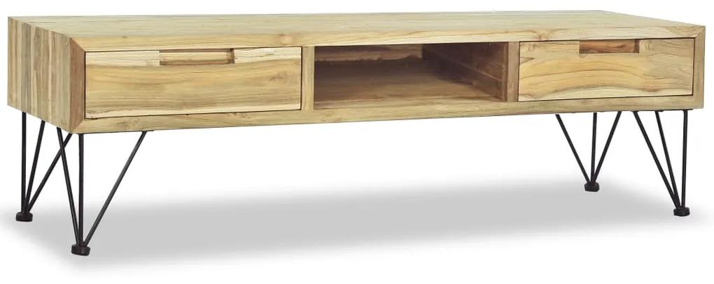 vidaXL TV stolík, 120x35x35 cm, masívne teakové drevo