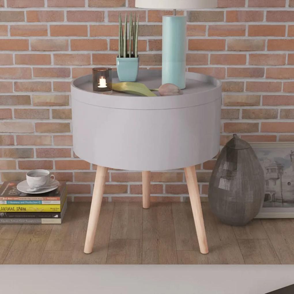 vidaXL Okrúhly konfrenčný stolík s táckou, 39,5x44,5 cm, šedý