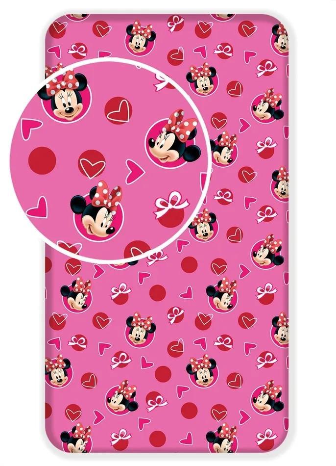 Jerry Fabrics Detské bavlnené prestieradlo Minnie Hearts 02, 90 x 200 cm