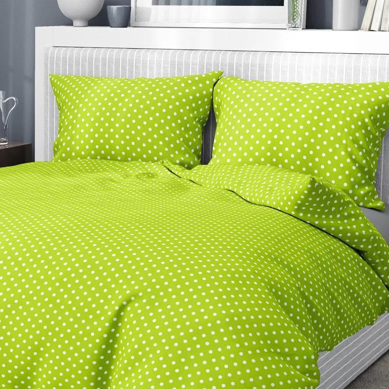 Goldea bavlnené posteľné obliečky - vzor 543 biele bodky na svetle zelenom 140 x 220 a 70 x 90 cm