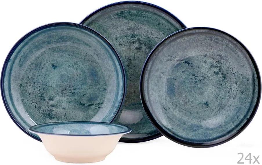24-dielna sada porcelánového riadu v modrej farbe Kutahya Mulio