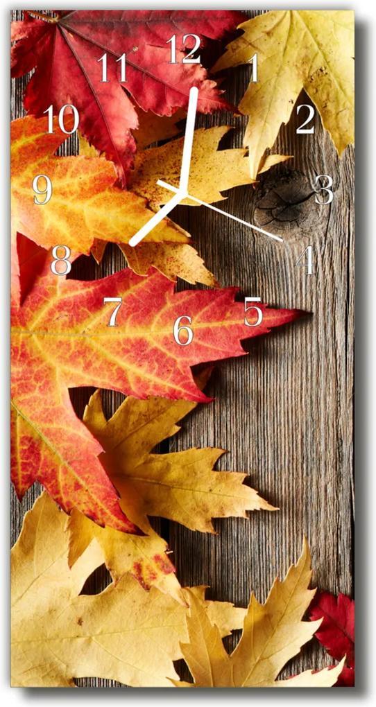 Skleněné hodiny vertikální Příroda Barevné listí