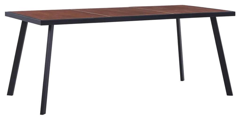 vidaXL Jedálenský stôl, tmavé drevo a čierna 180x90x75 cm, MDF