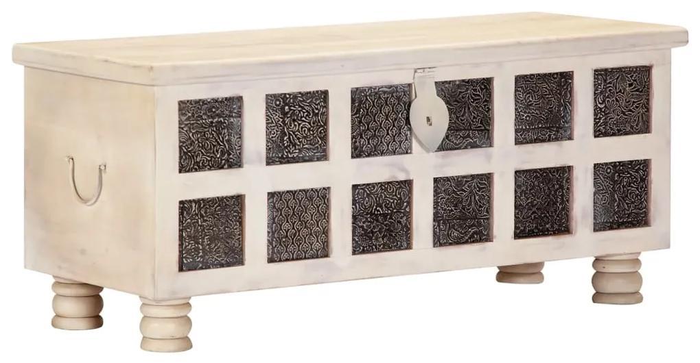vidaXL Úložný box biely 110x40x45 cm masívne akáciové drevo