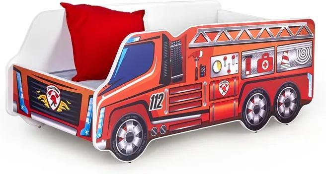MAXMAX Detská autopostel HASIČI 112 140x70 cm + MATRACE 140x70 pre chlapca NIE
