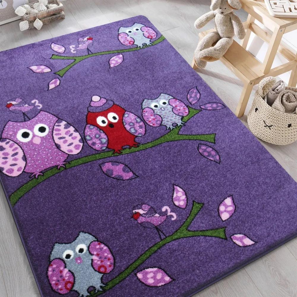 DY Detský fialový koberec Sovičky - rôzne rozmery Rozmer: 160 x 220 cm