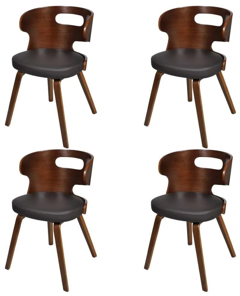 vidaXL Jedálenské stoličky 4 ks, hnedé, ohýbané drevo a umelá koža