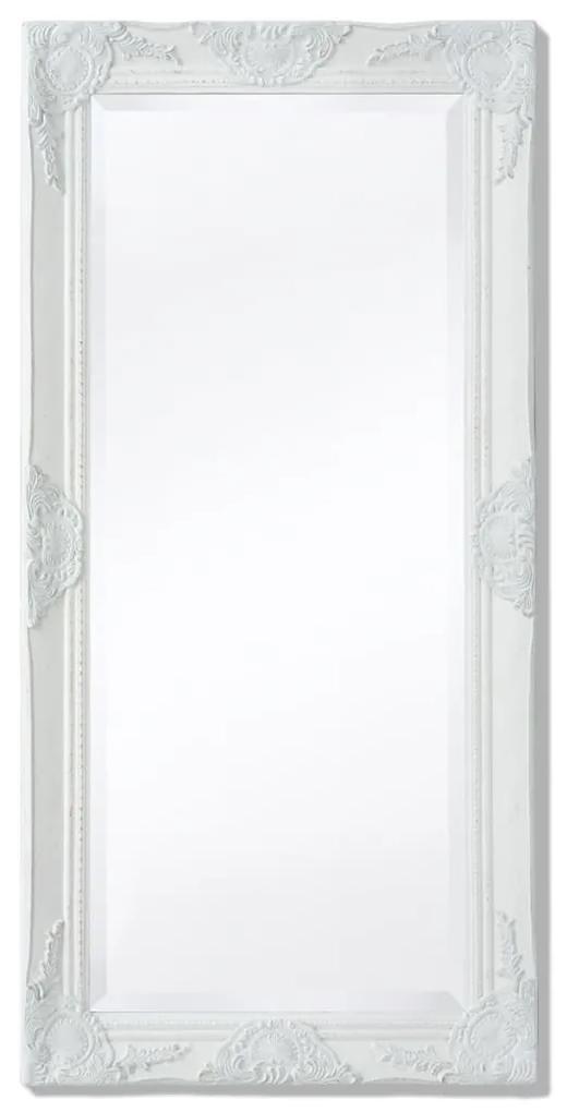 vidaXL Nástenné zrkadlo v barokovom štýle, 100x50 cm, biele