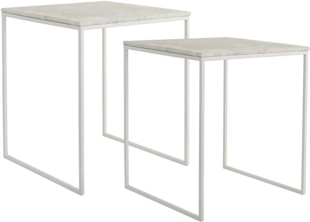 Bloomingville Kovový stolík s mramorovou doskou White Väčší