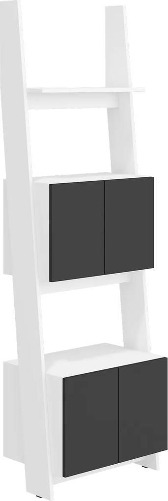 MEBLOCROSS Rack RAC-05 regál biela / čierny lesk