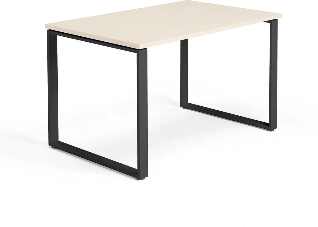 Kancelársky pracovný stôl Modulus, O-rám, 1200x800 mm, breza/čierna