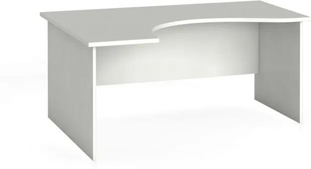 Rohový kancelársky pracovný stôl, zaoblený 160 x 120 cm, biela, ľavý