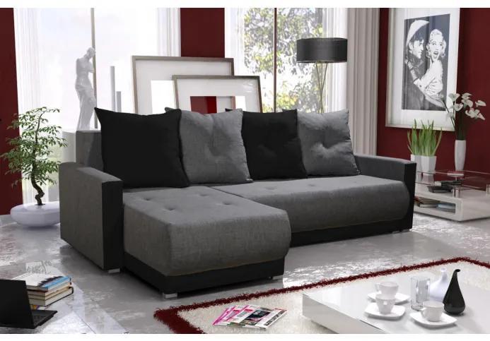 Elegantná sedacia súprava s opierkami LEONARD BIS, šedá + čierna