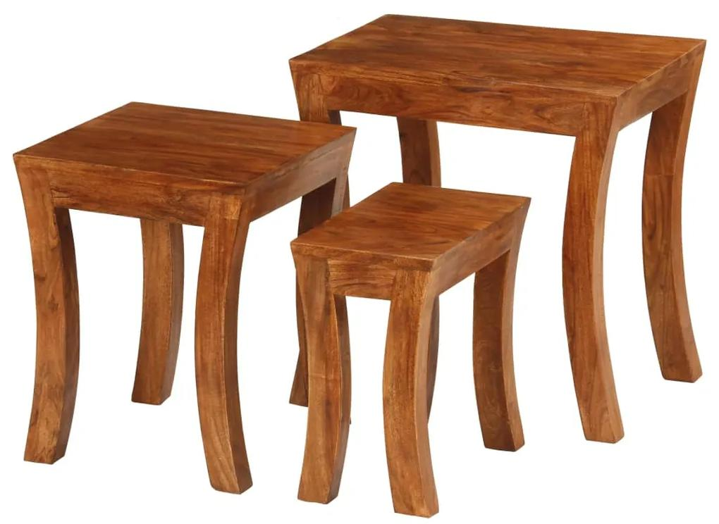 vidaXL 3-dielna sada zasúvacích stolíkov akáciové drevo 50x35x50 cm hnedá