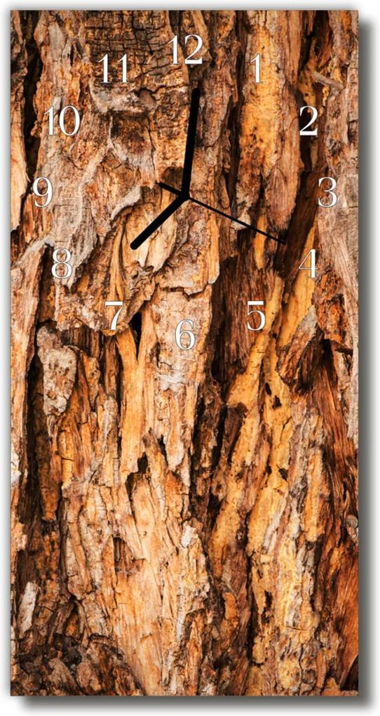 Skleněné hodiny vertikální Příroda Kůra hnědého stromu