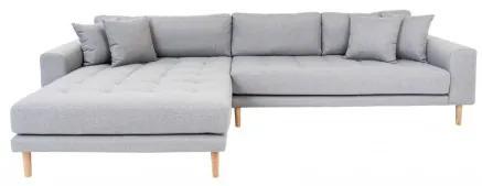Rohová pohovka LIDO 290 cm,polyester světle šedý, levý roh House Nordic 1301191L
