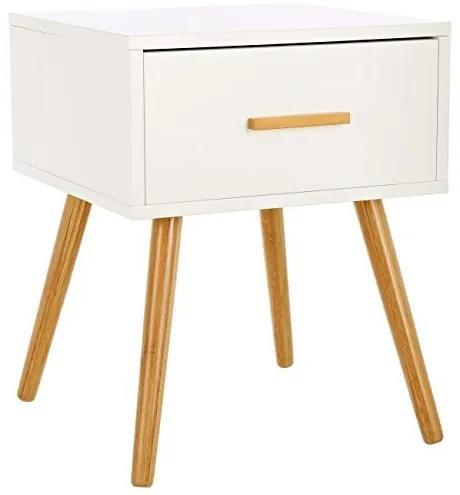 Noční stolek LOMOS Levi - bílé dřevo