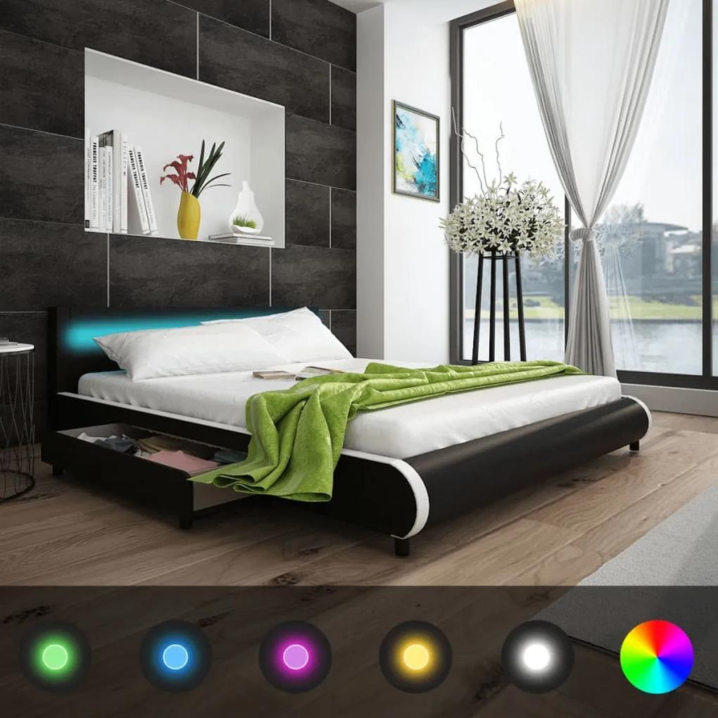 Čierna posteľ z umelej kože s LED pásom a 2 zásuvkami 180 cm