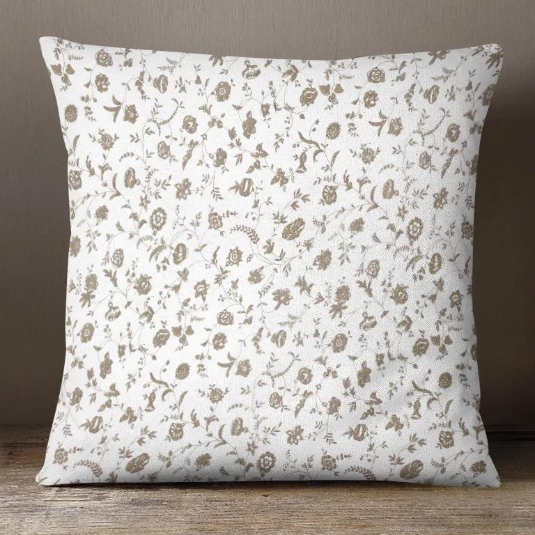 Goldea bavlnená obliečka na vankúš - vzor kvietky na bielom 45 x 45 cm