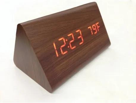 Drevené LCD hodiny s dátumom, budíkom a teplotou Čierna