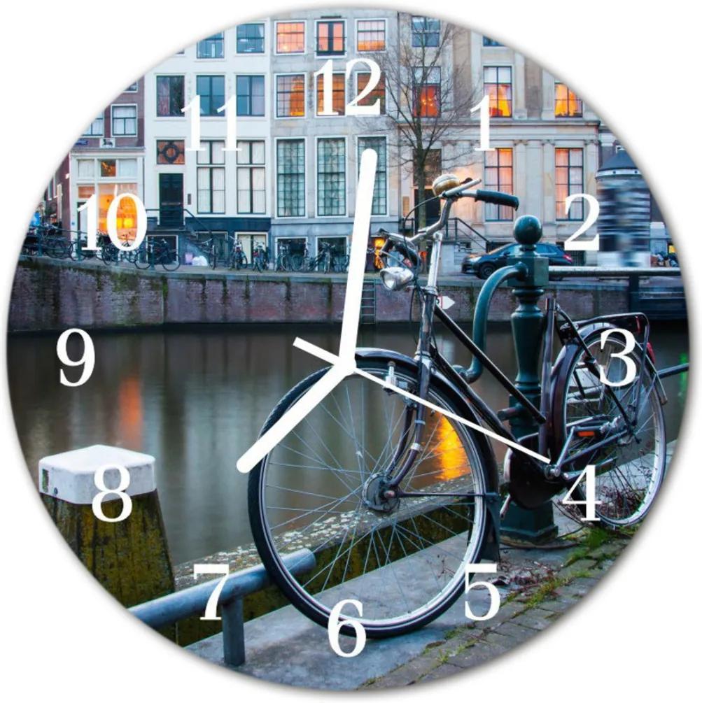 Nástenné skleněné hodiny kolo